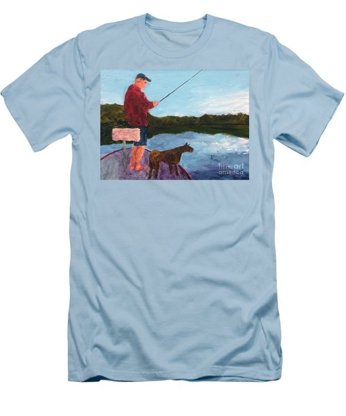 Men's T-Shirt (Slim Fit) featuring the painting Fishing by Donald J Ryker III