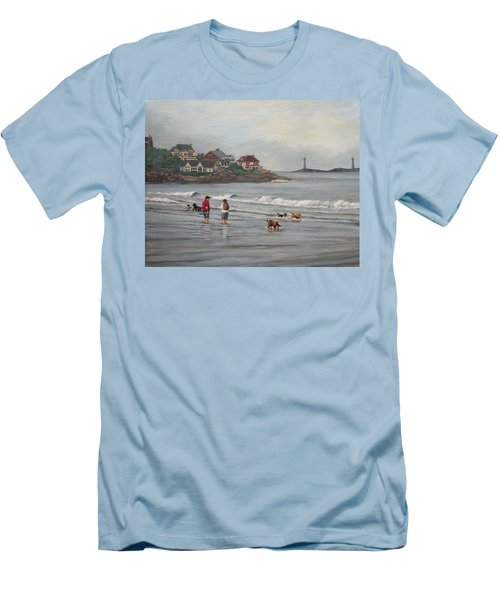 Fog Rolling In On Good Harbor Beach Men's T-Shirt (Slim Fit) by Eileen Patten Oliver