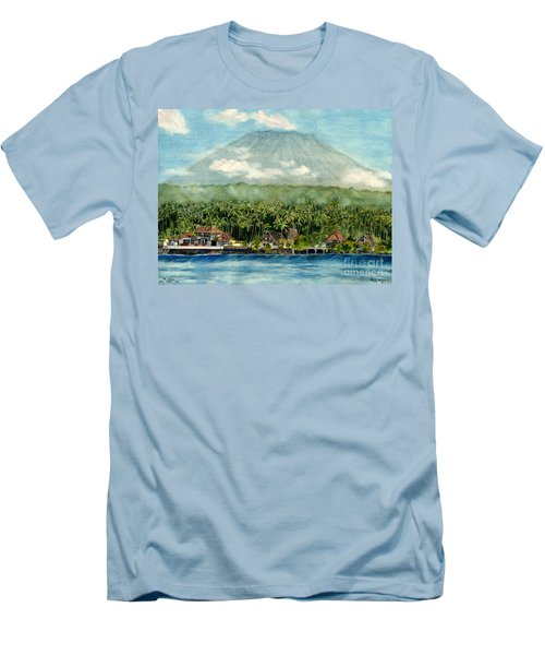 Men's T-Shirt (Slim Fit) featuring the painting Mt. Agung Bali Indonesia by Melly Terpening