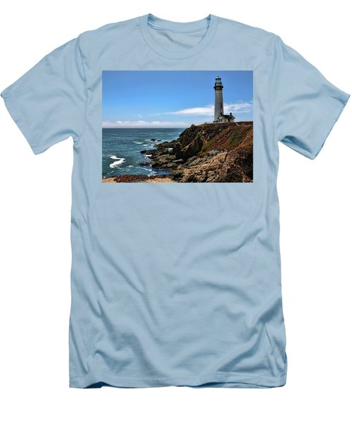 Pigeon Point Lighthouse Men's T-Shirt (Slim Fit) by Judy Vincent