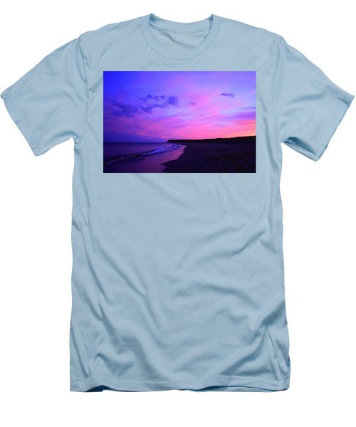 Pink Sky And Beach Men's T-Shirt (Slim Fit) by Jason Lees