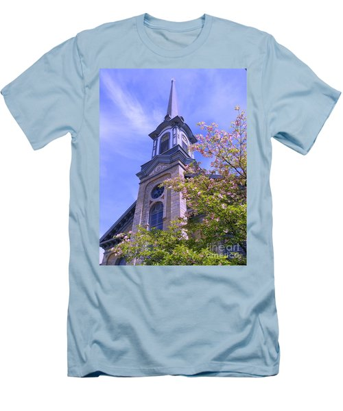 Men's T-Shirt (Slim Fit) featuring the photograph Steeple Church Arch Windows 1 by Becky Lupe