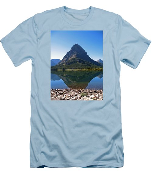 Men's T-Shirt (Slim Fit) featuring the photograph Swiftcurrent  Lake Many Glacier by Joseph J Stevens