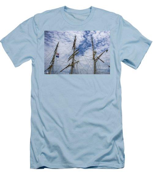 Tall Ship Three Mast  Men's T-Shirt (Slim Fit) by Dale Powell