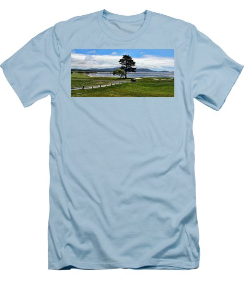 18th At Pebble Beach Panorama Men's T-Shirt (Slim Fit) by Judy Vincent