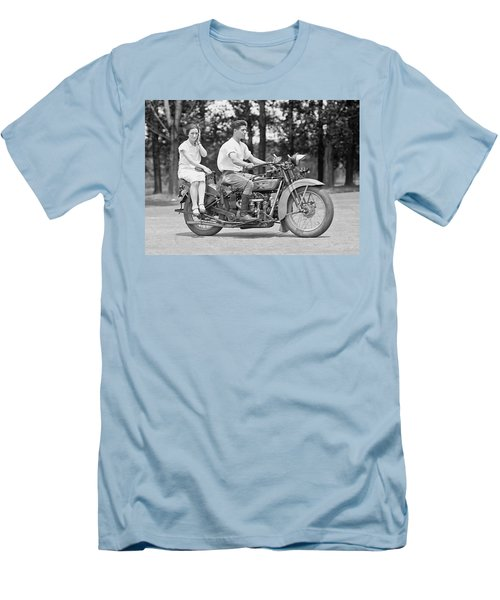 1930s Motorcycle Touring Men's T-Shirt (Slim Fit) by Daniel Hagerman