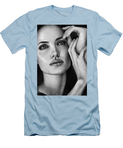 Angelina Jolie Black And Whire Men's T-Shirt (Athletic Fit)