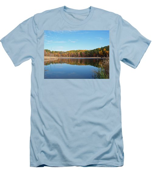 Men's T-Shirt (Slim Fit) featuring the photograph Autumn Pond by Aimee L Maher Photography and Art Visit ALMGallerydotcom