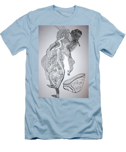 Men's T-Shirt (Slim Fit) featuring the drawing Bakiga Dance - Uganda by Gloria Ssali