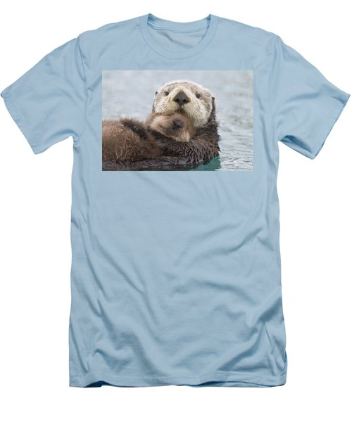Female Sea Otter Holding Newborn Pup Men's T-Shirt (Athletic Fit)