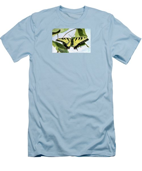 Men's T-Shirt (Slim Fit) featuring the painting Male Eastern Tiger Swallowtail by Angela Davies