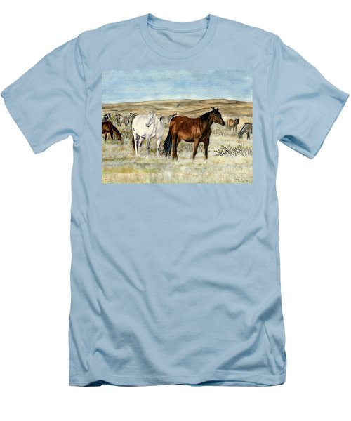 Men's T-Shirt (Slim Fit) featuring the painting Nine Horses by Melly Terpening