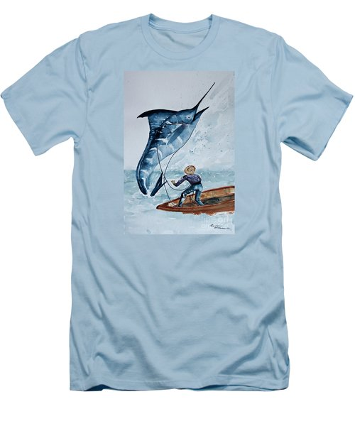 Old Man And The Sea Men's T-Shirt (Slim Fit) by Barbara McMahon