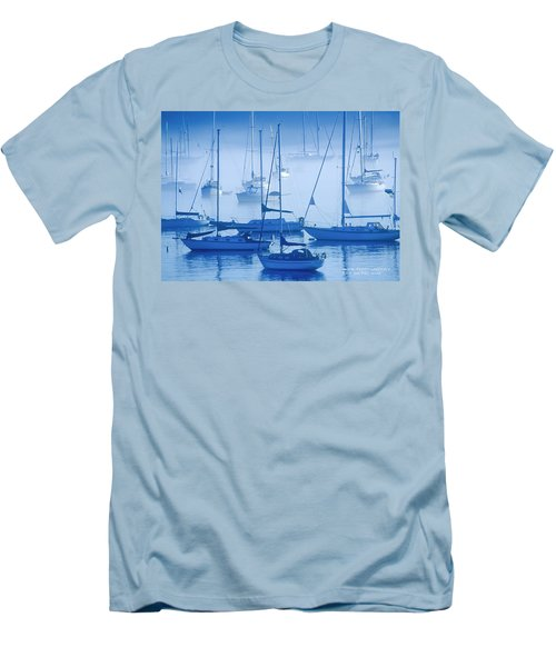 Men's T-Shirt (Slim Fit) featuring the photograph Sailboats In The Fog - Maine by David Perry Lawrence