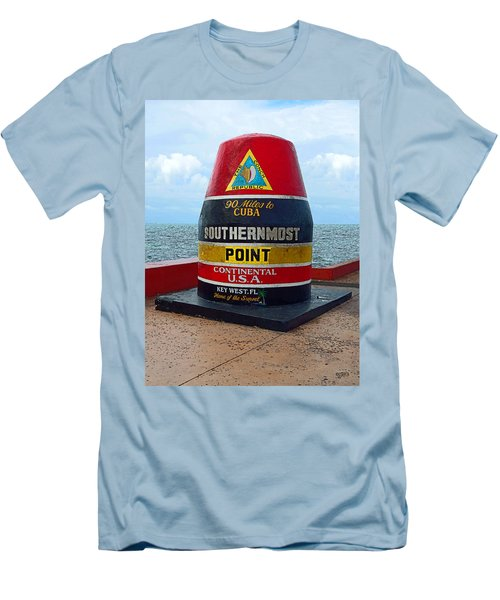 Southernmost Point Key West - 90 Miles To Cuba Men's T-Shirt (Slim Fit) by Rebecca Korpita