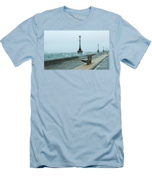 A Grey Wet Day By The Sea Men's T-Shirt (Athletic Fit)