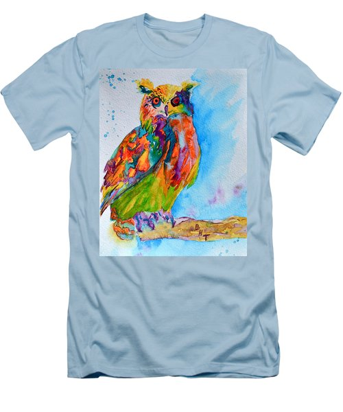 Men's T-Shirt (Slim Fit) featuring the painting A Hootiful Moment In Time by Beverley Harper Tinsley