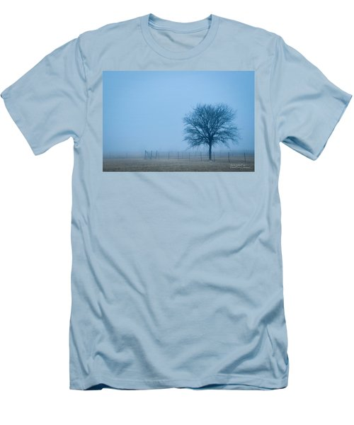 Men's T-Shirt (Slim Fit) featuring the photograph A Lone Tree In The Fog by David Perry Lawrence