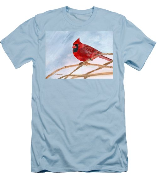 Men's T-Shirt (Slim Fit) featuring the painting A Touch Of Red by Lynne Reichhart