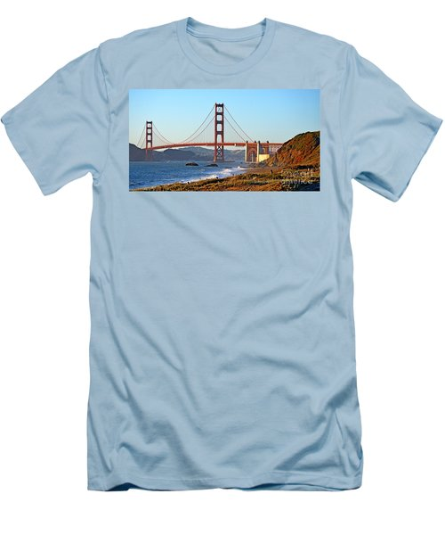 A View Of The Golden Gate Bridge From Baker's Beach  Men's T-Shirt (Slim Fit) by Jim Fitzpatrick