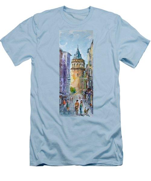 A Walk Around Galata Tower - Istanbul Men's T-Shirt (Slim Fit) by Faruk Koksal
