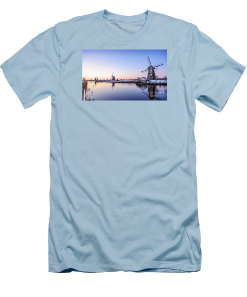 A Cold Winter Morning With Some Windmills In The Netherlands Men's T-Shirt (Slim Fit) by IPics Photography