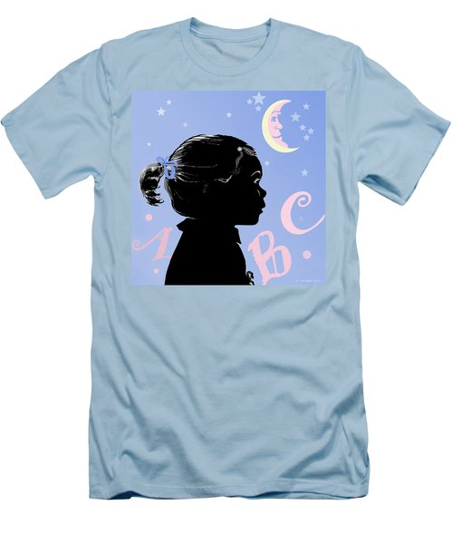 Men's T-Shirt (Slim Fit) featuring the painting Abc - The Moon And Me by Carol Jacobs