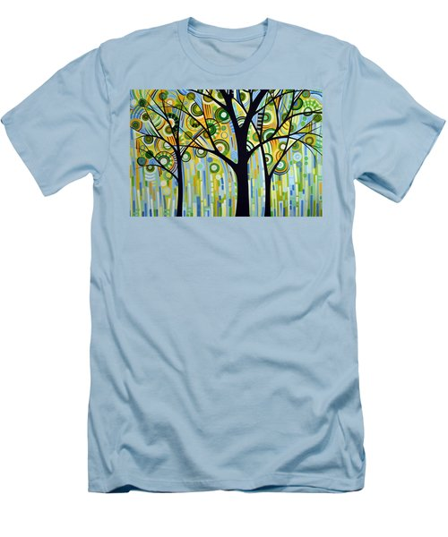 Abstract Modern Tree Landscape Spring Rain By Amy Giacomelli Men's T-Shirt (Slim Fit) by Amy Giacomelli