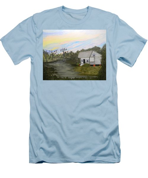 Acadian Home On The Bayou Men's T-Shirt (Slim Fit)