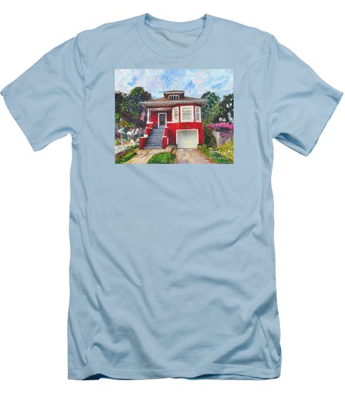 Colonial Revival High Basement Cottage 1907  Men's T-Shirt (Slim Fit) by Linda Weinstock