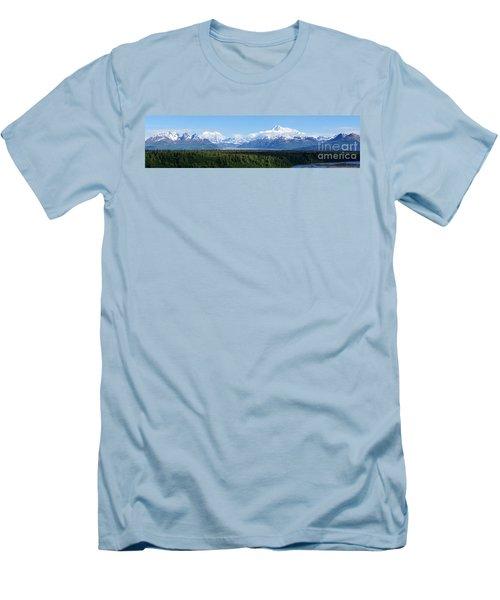 Alaskan Denali Mountain Range Men's T-Shirt (Slim Fit) by Jennifer White