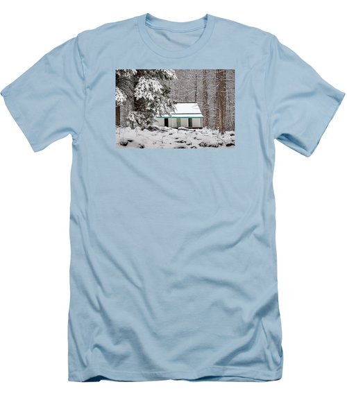 Men's T-Shirt (Slim Fit) featuring the photograph Alfred Reagan's Home In Snow by Debbie Green