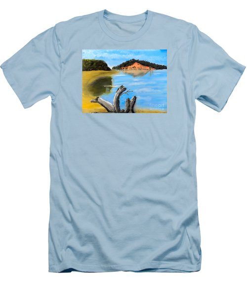 Men's T-Shirt (Slim Fit) featuring the painting Allonah Beach Tasmania by Pamela  Meredith