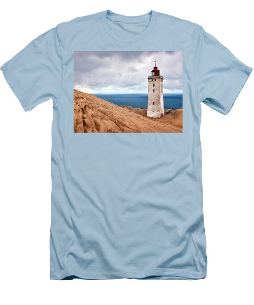 Lighthouse On The Sand Hils Men's T-Shirt (Slim Fit) by Mike Santis
