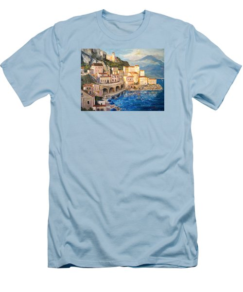 Men's T-Shirt (Slim Fit) featuring the painting Amalfi Coast Highway by Alan Lakin