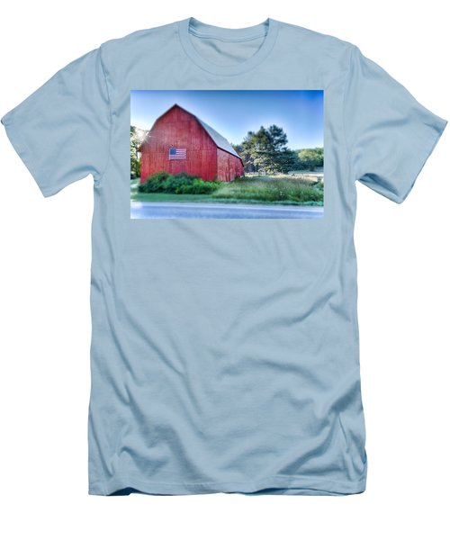 Men's T-Shirt (Athletic Fit) featuring the photograph American Barn by Sebastian Musial