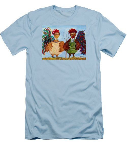 Men's T-Shirt (Slim Fit) featuring the painting American Gothic Down On The Farm - A Parody by Eloise Schneider