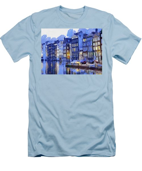 Men's T-Shirt (Slim Fit) featuring the painting Amsterdam With Blue Colors by Georgi Dimitrov