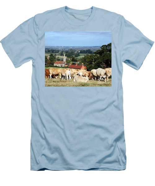 Men's T-Shirt (Slim Fit) featuring the photograph An English Summer Landscape by Linsey Williams