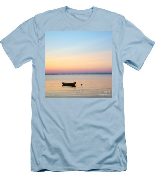 Men's T-Shirt (Slim Fit) featuring the photograph Anchored At Sunset by Kennerth and Birgitta Kullman