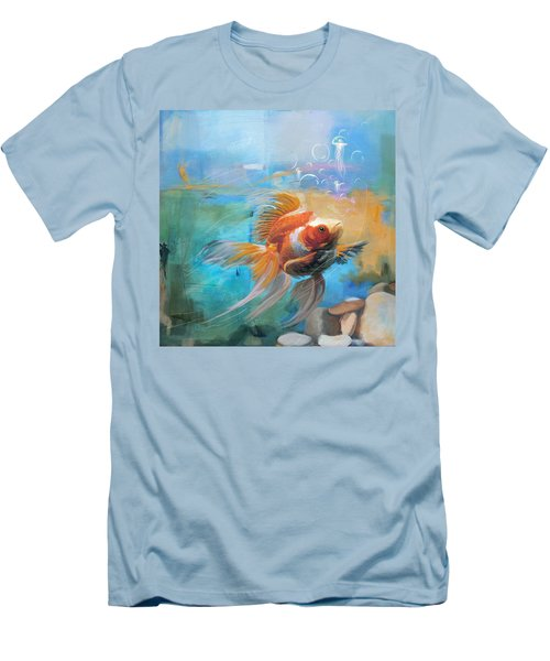 Aqua Gold Men's T-Shirt (Slim Fit) by Catf