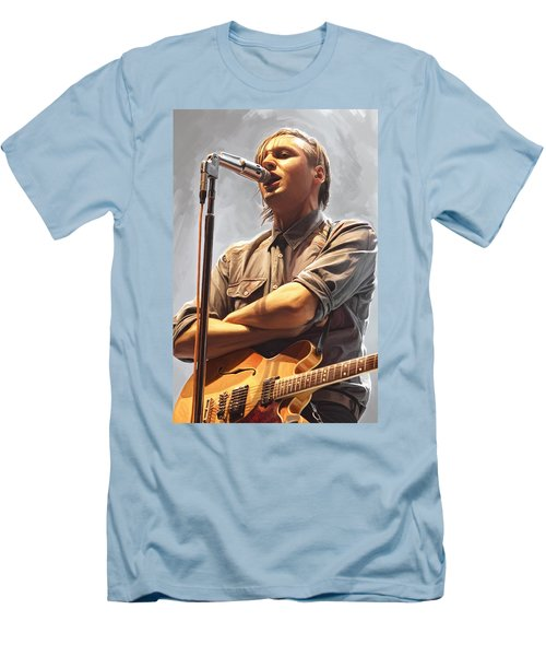 Men's T-Shirt (Slim Fit) featuring the painting Arcade Fire Win Butler Artwork by Sheraz A