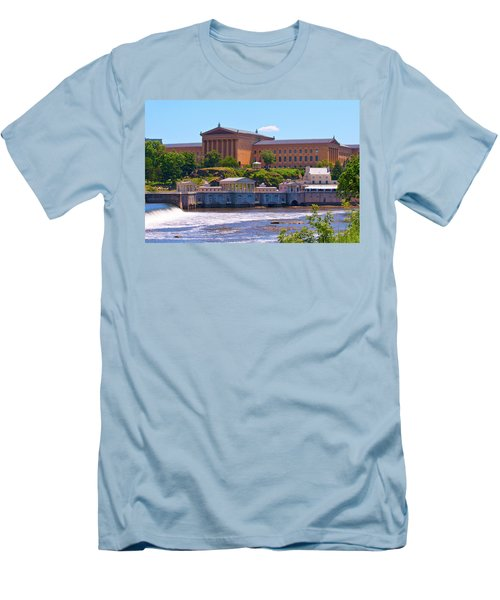 Art Museum And Fairmount Waterworks - Hdr Men's T-Shirt (Slim Fit) by Lou Ford
