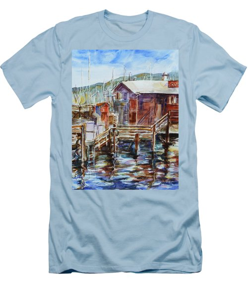At Monterey Wharf Ca Men's T-Shirt (Slim Fit) by Xueling Zou