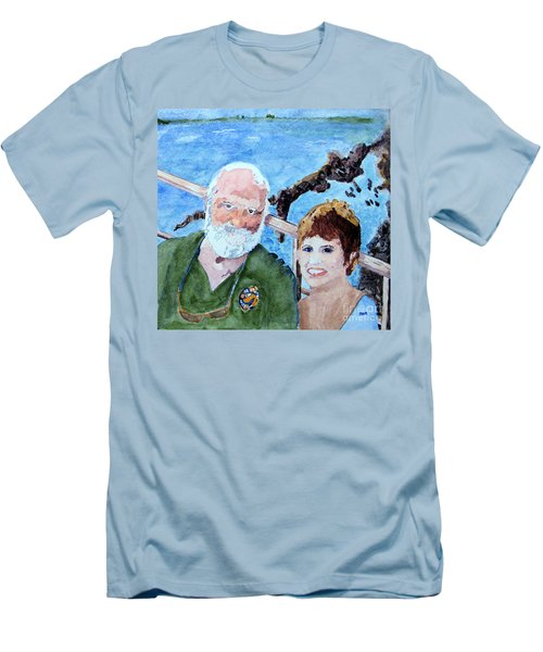 Men's T-Shirt (Slim Fit) featuring the painting At The Dock Of The Bay by Sandy McIntire