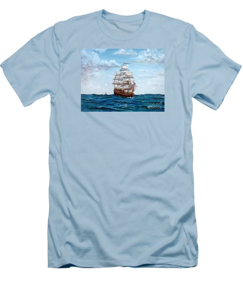 Men's T-Shirt (Slim Fit) featuring the painting Atlantic Crossing  by Lee Piper