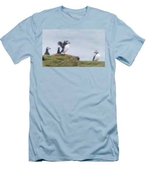 Atlantic Puffins Fratercula Arctica Men's T-Shirt (Slim Fit) by Panoramic Images