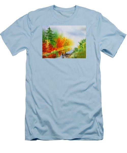 Men's T-Shirt (Athletic Fit) featuring the painting Autumn Burst Of Fall Impressionism by Irina Sztukowski