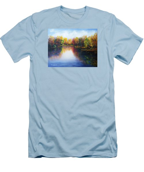 Men's T-Shirt (Slim Fit) featuring the painting Autumn Reflections  by Vesna Martinjak
