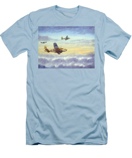 Men's T-Shirt (Athletic Fit) featuring the painting B-25 Mitchell by Bill Holkham